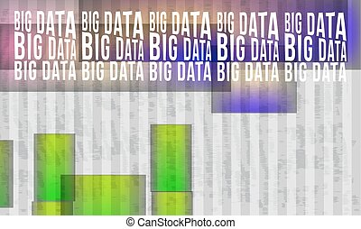 abstract background with stripes and colored objects and big data headline