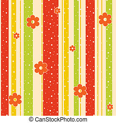 Abstract background with strips and flowers. Vector...