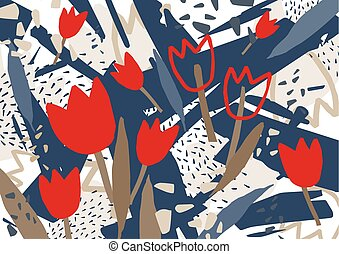 Abstract background with stylized red blooming tulip flowers. Unusual colorful horizontal backdrop with natural decorations. Creative decorative vector illustration in contemporary art style