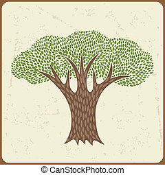 Abstract background with stylized tree in retro style.