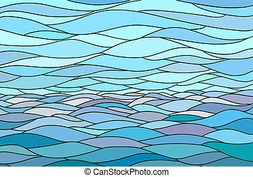 Abstract background with stylized wave and sky