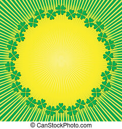 Abstract background with sun and clever (vector)