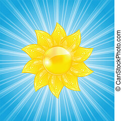 Abstract background with sun and light rays