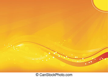 Abstract background with sun rays, wavy pattern and grunge elements in saturated orange, yellow and red. Great for autumn themes. No transparencies.