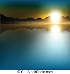 abstract background with sunrise and mountains - abstract ...
