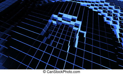 Abstract background with surface cubes. Technology backdrop....