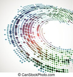 Abstract background with the chaotically located  rectangles in an oval form