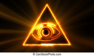 Abstract background with The Eye of Providence. Seamless loop digital backdrop