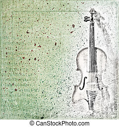 Abstract background with the sketch of an old violin