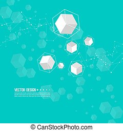Abstract background with transparent cubes.