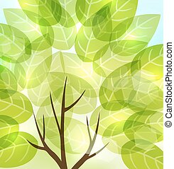 abstract background with transparent leaves and light shining through. vector