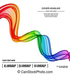Abstract Background with Transparent Rainbow Wave Line on White Backdrop.
