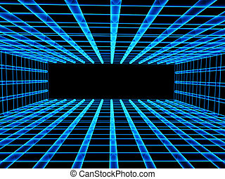 Abstract background with tunnel from lattice