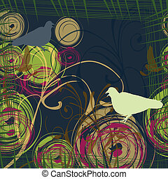 Abstract background with two doves