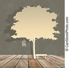 Abstract background with vintage birdcage under tree. Vector Illustration.