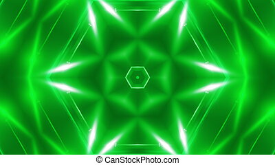 Abstract background with VJ Fractal green kaleidoscopic. 3d rendering digital backdrop