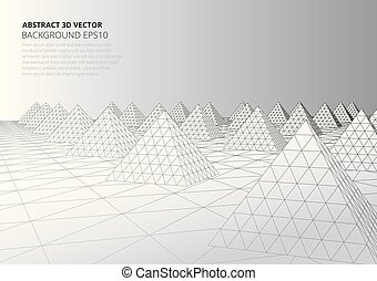 Abstract background with volumetric pyramids. Surreal landscape.