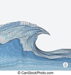Abstract background with waves. Mosaic. 3d vector illustration.