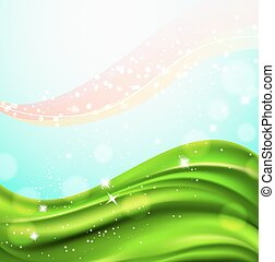 abstract background with wavy green field and sparkling light particles. vector