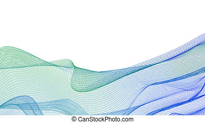 abstract background with wavy grid isolated on white
