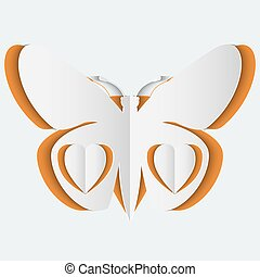 Abstract background with white paper butterfly