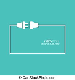 Abstract background with wire plug and socket. Concept connection, connection, disconnection, electricity. Flat design. Speech Bubble.
