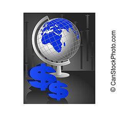 World Globe and Dollars