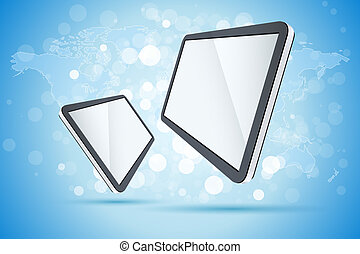 Abstract Background with World Map and Tablet Computers
