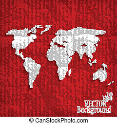 Abstract background with world map on red - vector illustration