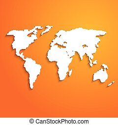 Abstract background with world map on orange - vector illustration
