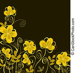 Abstract background with yellow flowers