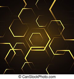 Abstract background with yellow hexagon