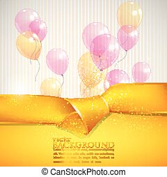 abstract background with yellow ribbon and balloons