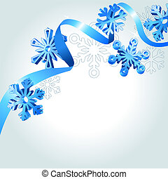 Abstract background wth blue ribbon and snowflakes
