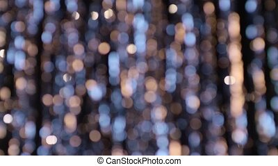 Abstract background yellow and blue bokeh circles and light dots