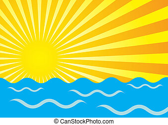 Sun Rays And Ocean - Abstract Background - Yellow Sun Rays...