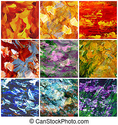 Picture, oil paints: set abstract backgrounds, hand paintings