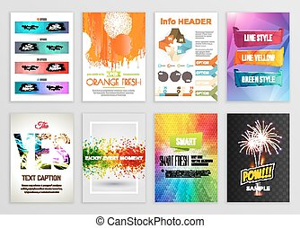 Abstract Backgrounds Set. Geometric Shapes and Frames for Presentation, Annual Reports, Flyers, Brochures, Leaflets, Posters, Business Cards Document Cover Pages Design. A4 Title Sheet Template