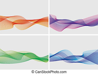 abstract backgrounds set (vector) - set of 4 abstract wavy ...