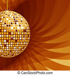 abstract, bal, achtergrond, goud, disco