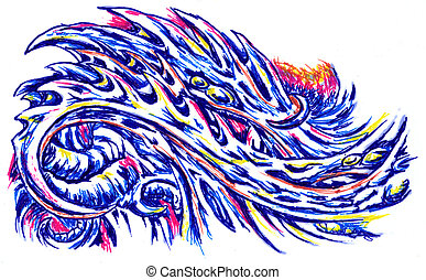 abstract ball pen painting
