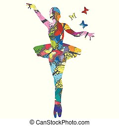 Abstract ballerina patterned in colored butterflies