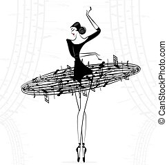 abstract ballet lady music - white background and abstract...