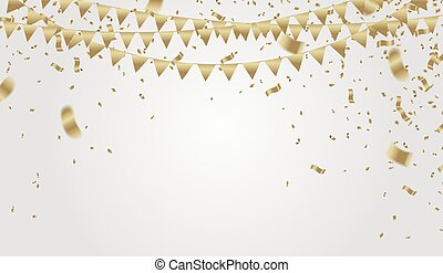 Abstract balloons Shining Party Background with Colored confetti flying on background