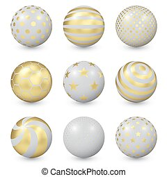 Abstract Balls with Gold Patterns