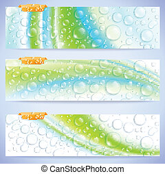 abstract, banieren, waterdrops