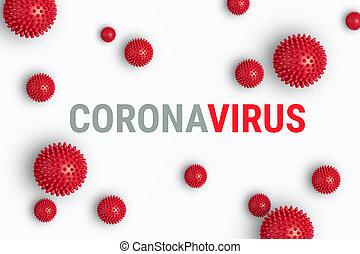 Abstract banner coronavirus strain model from Wuhan, China