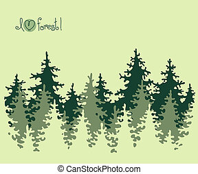 Abstract banner of coniferous forest. Vector illustration.