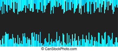 Abstract banner template design from vertical lines in light blue tones on black background