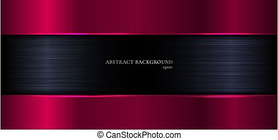 Abstract banner web elegant template geometric pink gradient metallic on black metal background and texture.
